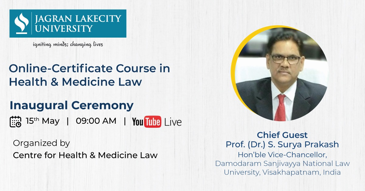 The inaugural ceremony of the Online Certificate Course in Health and Medicine Law.